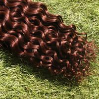 6a sınıf saç toptan satış-# 33 Koyu Kumral Kahverengi Cilt Atkı Bandı İnsan Saç Uzantıları 40 adet / 100g Sınıf 6a Işlenmemiş Perulu Kıvırcık Bakire Saç Sertifikalı