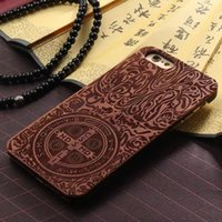 Wholesale Hard Wood Back Cover Case - For iphone7 6 7plus Fashion Wood Hard Wooden Natural Hand Made Carving Protector Back Cases Cover phone Case For iphone 7 6S plus