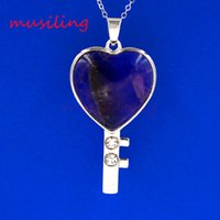 Wholesale Heart Charm Chain Key - Heart Key Natural Stone Pendants Necklace Chain New Pendulum Silver Plated Charms Amulet European Fashion Romantic Lovers Jewelry