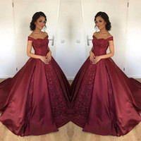 Wholesale Dresses For Sweet 15 - Burgundy 2018 Ball Gown Quinceanera Dresses New Off Shoulder Satin Lace Applique Long Arabic Sweet 15 For Girls Formal Prom Party Gown