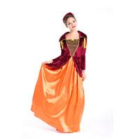 Wholesale Girls Renaissance Dress - new Europe noble Arab girl Halloween masquerade game uniforms exotic queen Cosplay long dress Dress, hat