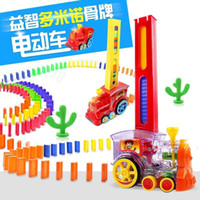 Wholesale Toy Electric Train Cars - Domino's car selling electric train automatic licensing acousto-optic headband building children's educational toys 2colors