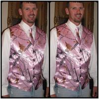 Wholesale Pink Camo For Sale - Custom Pink Camo Satin Groom Vest 2018 Camo Vests New Fashion Top Sale Camo Wedding Evening Prom Vest For Man Cheap Sale