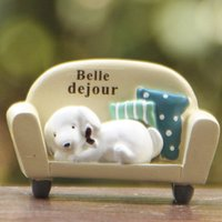 Wholesale Carve Sofa - 1pcs Sofa Dog Figurines Mini Fairy Garden Miniatures Resin Craft Terrarium Statue Bonsai Tools Gnomes Flower Pot Zakka Dollhouse Ornament