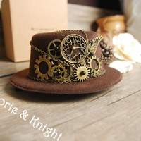 All'ingrosso-Steampunk Gear Vintage mini cappello superiore nero marrone vino rosso
