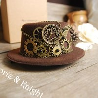 Grossiste-Steampunk Gear Vintage Mini Haut Chapeau BROWN Vin Noir Rouge
