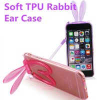 Wholesale Ear Gels - Transparent Gel Soft TPU Rabbit Ear Case for iphone 6s Lanyard Holder Stand Cover for iphone 6 5s 6s plus