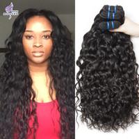 Wholesale Hair Extension Color 1b Brazilian - Wet and Wavy Virgin Brazilian Hair Bundles Modern Show Hair 3 Bundle Brazilian Human Hair Weave Extensions Natural Black 1B