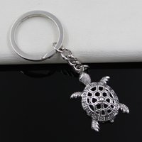 Wholesale Turtle Metal Keychain - Fashion diameter 30mm Key Ring Metal Key Chain Keychain Jewelry Antique Silver Plated hollow tortoise turtle sea 38*25mm Pendant