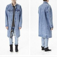 Wholesale Slim Wool Coat Men S - 2017 Newest Top Qualtiy Long cool Denim Jacket Wool Liner men women Extended Denim jackets kanye Autumn Winter Streetwear Coats