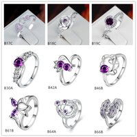 Wholesale Planet Ring Silver - Planet rose purple gemstone 925 silver ring GTGR25,new arrival sterling silver ring 10 pieces mixed style