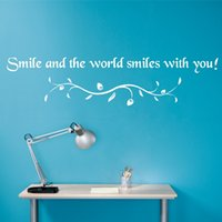 Wholesale Inspirational Vinyl Wall Decals - Inspirational Vinyl Wall Sticker Quote Wall Decals Smile And The World Smiles Wiith You