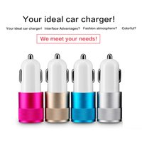 Wholesale Car Accessories Uk - Micro USB OEM Dual 2 Port Iphone Car Charger Metal Universal Adapter Caricabatterie Auto iPhone iPad Samsung Accessories Del Telefono Cellul