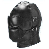 US New Sexy Gimp Head Mask Hood Blindfold Faux Leather Fetish Kinky RolePlay # R172