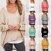 Wholesale Blusas Hot Women Blouses O neck Batwing Long Sleeve Casual Loose Solid Tops Shirts Plus Size S XL Colors