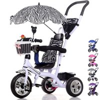 Wholesale Tricycle Stroller Bike - Luxury Infant Baby Stroller Tricycle Bicycle Children Steel Frame Pneumatic Wheel with Awnings Umbrella Kids Learning Bike Prams JN0058