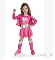 Wholesale Super Man Costumes For Girls - children hot pink superman girl dress superhero girl cosplay costume super hero costume for girl Super girls costume DDA2925 100sets