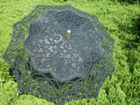 Wholesale Wholesale Lace Parasol Umbrellas - Vintage lace Parasol Umbrella for wedding party Bridal lace handmade wedding umbrellas white black and beige embroider lace parasol
