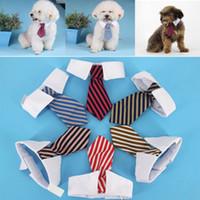 nueva mezcla de ropa al por mayor-Nuevo perro mascota gato arcos a rayas pañuelos de cuello corbata estampado de bebé ropa para perros ropa color de la mezcla DHL WX-G13