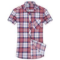 Wholesale Shirts Shorts Sleeves - Wholesale-2016 summer new men checked leisure fashion boutique cotton short sleeve shirts   Men casual business plaid short-sleeved shirts