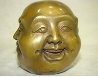 Wholesale Chinese Seal Carving - Copper Brass craft Chinese Old LUCKY tibetan brass four face seal buddha head statue decoration brass factory outlets
