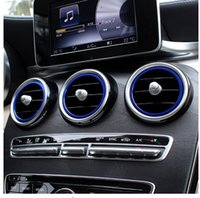 Wholesale decoration trim line - 7pcs Car Interior Air Conditioning Outlet Decorative Cover Trims Inner Ring For Mercedes Benz New C class W205 2015-17