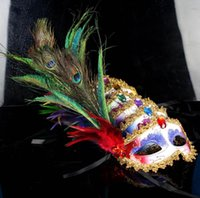 Wholesale Masquerade Peacock - masquerade masks Peacock Feather paintball gold Crystal embellished lace mask Masquerade Mask Mardi Gras Masks Party Masks 6 Color B304
