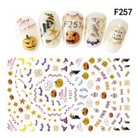 Wholesale Halloween Nail Stickers Skull - 3d Adhesive Nail Art Sticker Halloween Pumpkin Skull Blood Mouth Bone Moon Bear Cross Cat Castle Manicure Decoration Wraps New