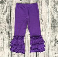 leggings preise großhandel-Elegante Mädchen-Art- und Weisehosen-preiswerter Preis-Zuckerglasur-Baby-Gamaschen für Kleinkind-Mädchen-Kind-dreifache Rüsche-purpurrote Hosen