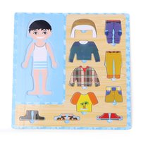 Wholesale Baby Toys Boy Girl Dress Changing Puzzle Set Wooden Toys Child Eduactional Dressing Jigsawv Puzzle Baby Birthday Gift