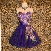 Wholesale Pink Peacock Feather Prom Dress - Romantic Strapless Peacock Homecoming Dresses 2017 Tulle Purple Short Prom Dresses Crystal Party Gowns Graduation Gown Semi Formal Dresses