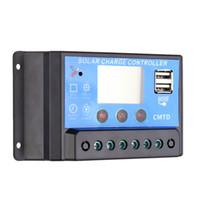 controlador de carga solar pantalla lcd al por mayor-Cargador solar multifuncional 10A Controlador de carga solar con pantalla LCD Controlador automático Controlador de descarga del temporizador