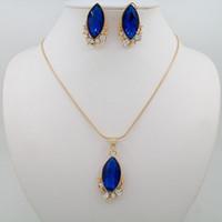 Wholesale Cheap Wedding Items Wholesale - Fashion Cheap Bridal Jewelry Womens blue imitation zircon Pendant Jewelry Hot Selling Necklace Jewelry Sets Gold Plated Item