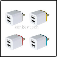 Wholesale chinese brands tablets resale online - 5V A Dual USB chargers US EU plug USB ports AC power adapter cell phone travel chager wall charger for tablet smart phone mp3 mp4