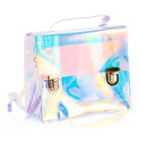 Wholesale wholesale clear pvc handbags - Wholesale- Women Summer Beach Bag PVC Clear Transparent Bags Small Tote Bag Hologram Handbags Women Famous Brand Women Shoulder Bags