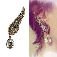 Wholesale Wing Earring Cuff - Wholesale-Free Shipping Gothic Punk Rock Metal Angel Wing Clip on Left Ear Cuff Wrap Earring Jewelry