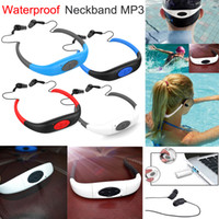 Barato Mp3 Jogador Desportivo-Rádio FM 8GB IPX8 Waterproof MP3 Music Player Underwater Swim Surf Mergulho Stereo Neckband Sports Auscultadores Handsfree