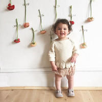 Wholesale Baby Stripe Sweater - 2017 children clothing O-Neck baby girl sweater jacket cotton multicolor stripe petal top sweater toddler girl striped knit
