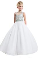 Wholesale Crystal Bodice Flower Girl Dresses - 2016 White Holy First Communion Dresses Crystal Bodice Little Girl Pageant Dresses Flower Girl for Wedding Princess Kids Party Dresses