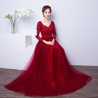 Wholesale Sexy Red Leather Jacket - Applique Beaded New Wine Red Lace Embroidery Long Sleeve Short A-line Evening Dresses vestido de noite