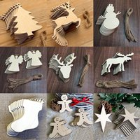 Wholesale cartoon chips - Christmas Tree Ornaments Wood Chip Snowman Tree Deer Socks Hanging Pendant Christmas Decoration Home Decor Xmas Gifts 10 pieces Lot HH7-280
