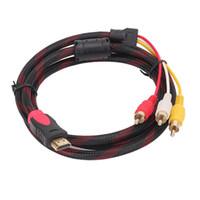 video-player-konverter groihandel-Schwarz 5Ft HDMI zu 3-RCA Video Audio AV-Kabel Component Converter Adapter 1,5 m HD-Player zu TV-Kabel
