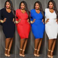 Wholesale Plus Size Poncho Cape - Red Blue Black White Plus Size Cape Dress Fashion Women O Neck Poncho Cloak Dress Batwing Sleeve Bodycon Sexy Knee Length Midi dress