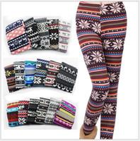 Wholesale Colorful Snowflake Leggings - Women Printed Leggings Colorful Snowflake Christmas Deer Graffiti Legging Cashmere Knitted Slim Leggings Tights