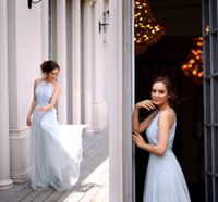 Wholesale Baby Water Zipper - Charming Baby Blue Sequin Tulle Bridesmaid Dresses Jewel Sleeveless Floor Length Light Blue Bridesmaid Gowns Wedding Guest Dresses
