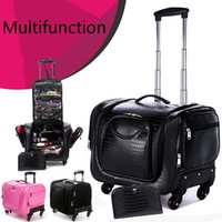 Wholesale Trolley Trunk Suitcase - Professional Makeup Cosmetics Cases Large Beauty Caster Trolley Luggage Suitcase Korean Cosmetics Storage Kit Storage Cosmetic Cases