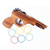 Wholesale Wooden Ice Cream Toy - New Funny Classical Rubber Band Launcher Wooden Hand Pistol Gun Shooting Toy Gifts #67169 toy ice cream cone