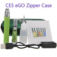 Wholesale Ego Ce5 Single - CE5 eGo-T Single Zipper Case Kit - DHL 50PCs. electronic cigarette CE5 starter Single kits with ce5 atomizer and 650 900 1100mAh ego battery