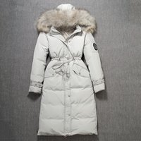 Wholesale Xxl Big Fur Collar Coat - 2017 Winter new women's big natural raccoon fur collar hooded duck down slim waist casual long parka coat casacos XXL