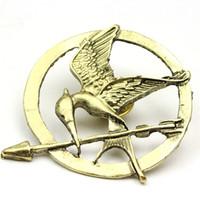 oyunlar mockingjay pin toptan satış-Yeni Moda Açlık Oyunları Mockingjay Pin Sıcak Film Kuş Kadın Erkek Gümüş Bronz Altın Renkler için Broşlar Hediye Pins Toptan 60 adet / grup